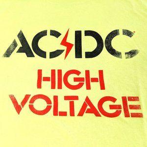 AC⚡DC High Voltage Yellow Graphic T-shirt SZ XXL